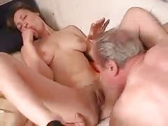 Older russian guy fucking a brunette