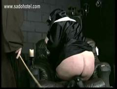 Naughty nun begs for forgiveness but got spanked on her nice well-formed ass by master priest