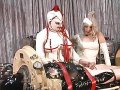 Busty costumed woman fucks a bound man video