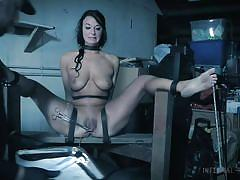 bdsm, babe, crying, needles, busty, brunette, pussy torture, device bondage, foot torture, infernal restraints, london river