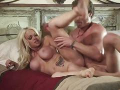 Busty platinum blonde gets rammed hard