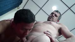 Daddy is eager to give a head to that gigantic cock and get it on in numerous poses with this handsome lad