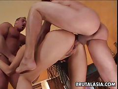Asian hottie katsuni rough fucking threesome