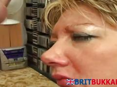 British blonde stroking and blowing long rods