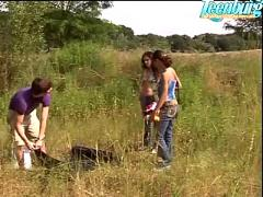 Cute teen girls in hot outdoor fuck
