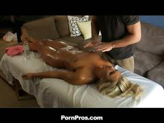 Hot blonde nailed after massage