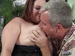 Horny chubby milf rubee fucked and eats cum