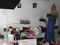 Blowjob in backstage by busty czech blonde