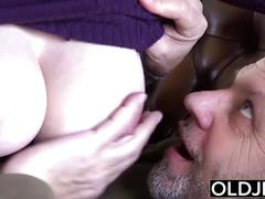 Old young amazing big tits girl fucks old man hardcore sex