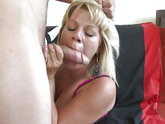 Mature woman sucks and fucks a younger boy