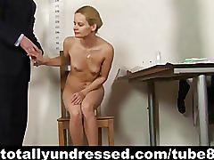 Blonde secretary plays with dildos