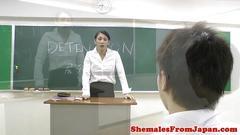 Ladyboy teacher assfucking her student