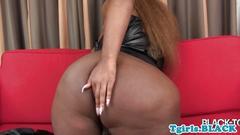 Bigass black tgirl teases and jerks off