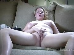 facial, blonde, real, amateur, sofa, masturbation, solo, beautiful, audition, couch