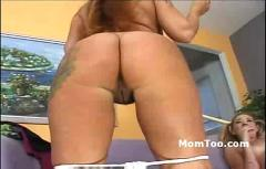 Charming busty blonde mom with hairy pussy and daughter with pigtails show pussy