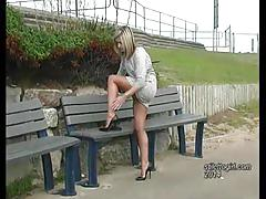 erotic, stilettogirl.com, kinky, legs, high heels, foot fetish, nylons, blonde, tease, glamour, outside, bench