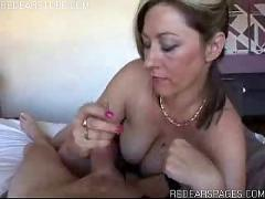 Wife getting her husband off