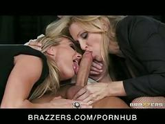 Big-tit blonde milf sluts julia ann & brandi love in hot threesome