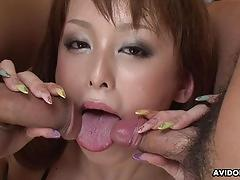 Sexy asian wet pussy in a threesome