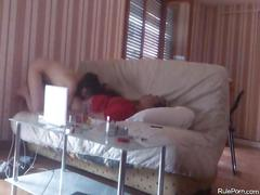 French curly long haired wife gets fucked on the sofa