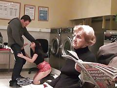 Ava dalush gets fucked in a public laundry