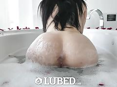 Lubed marley brinx lubed up for sexy massage fuck and creampie