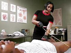 Asian mistress humiliates & punishes submissive black guy