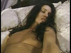 Curly hair brunette with small hot tits home alone rubs on her pussy
