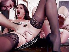 With bound sex slave on the dinner table
