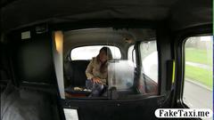 Hairy chick pounded hard in the backseat