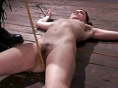 bdsm, babe, punishment, domination, vibrator, breathplay, brunette, hairy pussy, suffocation, nipple torture, rope bondage, hogtied, kink, juliette march