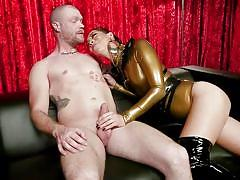 Tranny trapped a bald guy to fulfill her dark desires