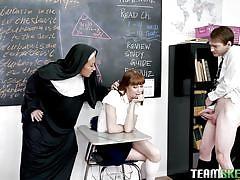 milf, threesome, handjob, babe, redhead, big cock, school, punishment, blowjob, nuns, pussy rubbing, bad milfs, lily lane, alexa nova