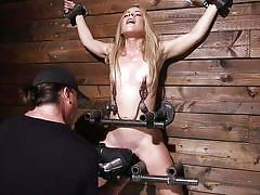 blonde, bdsm, petite, babe, vibrator, pierced tongue, nipple clamps, metal bondage, breath control, orgasm torture, device bondage, kink, lilly ford