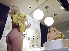 blonde, handjob, big tits, babe, blowjob, bubble butt, spying, tattooed, from behind, pov, pervs on patrol, mofos network, sophia lux