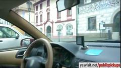 Female cab driver natali blue has public sex