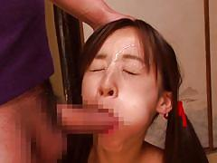 Cute japanese chick loves sticky white cum on her face