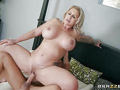 Busty milf getting fucked by her stepson