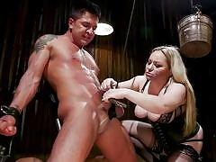 milf, blonde, femdom, bdsm, strapon, big tits, cock torture, ball gag, clothespins, cock biting, divine bitches, kink, aiden starr, dominic pacifico