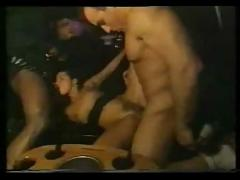 cumshot, hardcore, interracial, blowjob, brunette, threesome, limo, hairypussy, pussyfucking, car