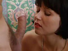 Slut can't wait to suck his load out of his cock