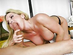 Experienced blonde is trained to take cocks deep down her throat