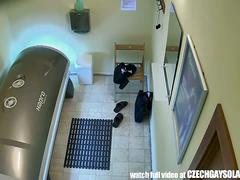 Real footage from a spy camera in solarium.