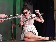 bdsm, babe, whipping, blindfold, tattooed, suffocation, device bondage, plastic bag, sensual pain, master james, penelope davenport