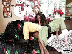 Busty ebony teen as a gift for christmas