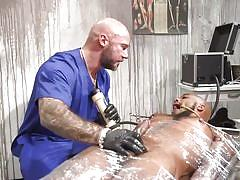 bdsm, torture, handjob, interracial, black, domination, nipple pinching, bald, bbc, plastic wrap, mouth gag, bound gods, kink men, jason collins, micah martinez
