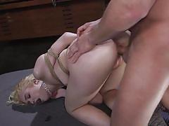 blonde, bdsm, babe, big cock, vibrator, from behind, pussy torture, ass whipping, rope bondage, sex and submission, kink, seth gamble, chloe cherry