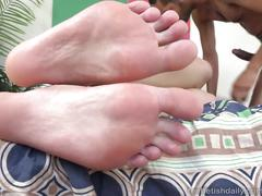April brookes strokes big black cock with lovely feet