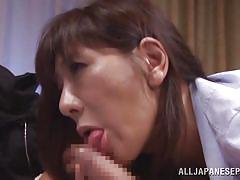 Sexy mature japanese slut tugs on cock
