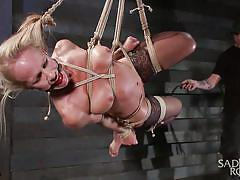 sadism, hanging, stockings, blonde mature, executor, ball gagged, rope bondage, sadistic rope, kink, simone sonay